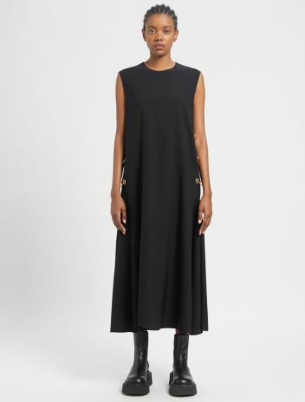 Sleeveless dress with side piercing detail