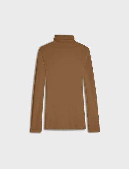 Seamless polo-neck sweater