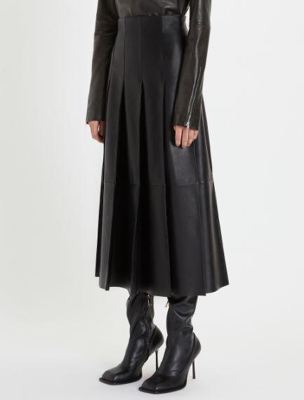 Nappa leather pleated skirt