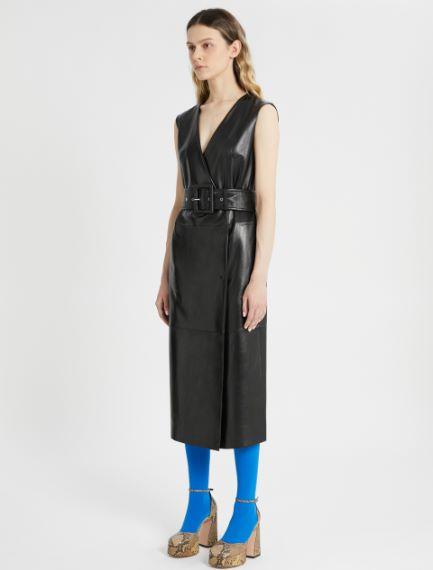 Nappa leather wrap dress