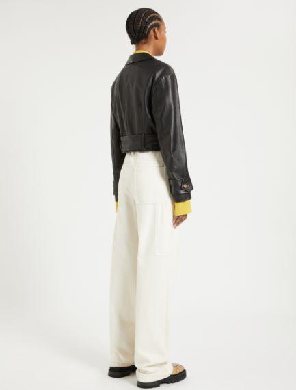 Nappa leather cropped jacket