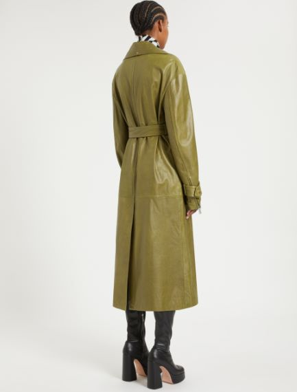 Nappa leather trench coat