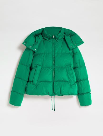 Boxy down jacket with a detachable hood