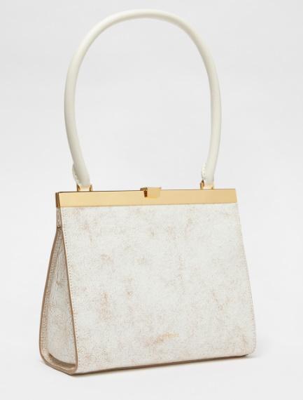 Crackled leather clutch bag