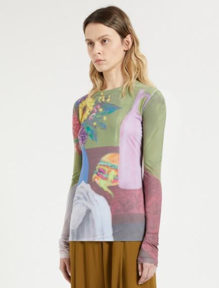 Print-embellished skintight jersey sweater
