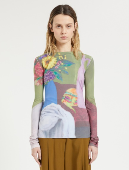 Print-embellished skintight jersey sweater Sportmax