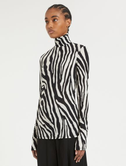 Skintight jersey polo-neck sweater