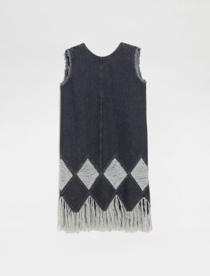 Sleeveless dress with inlays and fringes