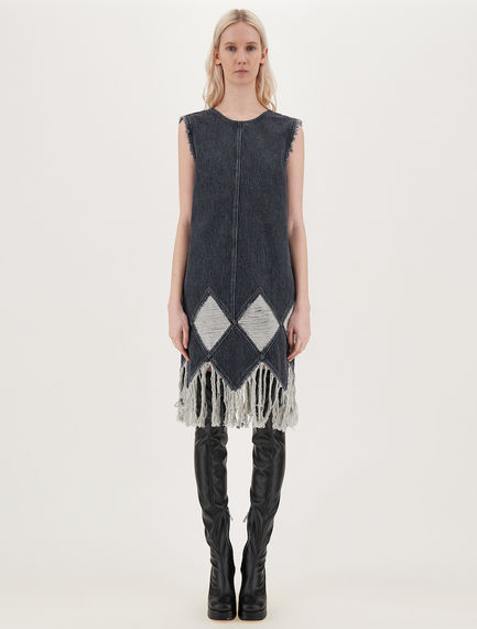 Sleeveless dress with inlays and fringes Sportmax