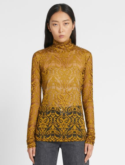 Printed jersey polo neck